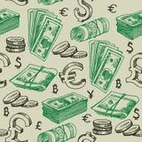 Money falling vector seamless pattern. Royalty Free Stock Photos