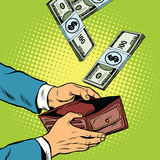 Money falling into wallet, financial profits and wealth. Pop art retro vector illustration Royalty Free Stock Photo