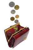 Money falls in purse. Good luck. Profit. Percent. Isolated. On white background royalty free stock image