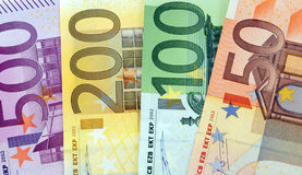 Money fan. Euro-banknotes for 500-, 200-, 100-, 50-euro Royalty Free Stock Images