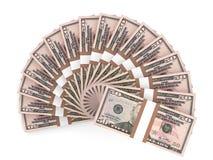 Money fan. Fifty dollars. Stock Photo