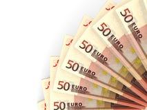 Money fan. Fifty euros. 3D illustration Stock Image