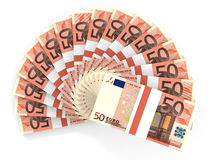 Money fan. Fifty euros. 3D illustration Stock Photos