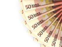 Money fan. Fifty euros. 3D illustration Royalty Free Stock Photos