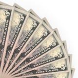 Money fan. Five dollars. Royalty Free Stock Photos