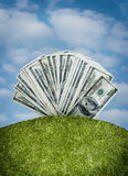 Money fan on hill royalty free stock photo