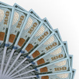 Money fan. New one hundred dollars. Royalty Free Stock Images