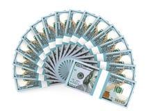 Money fan. New one hundred dollars. Stock Photos