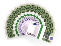 Money fan. One hundred euros. 3D illustration stock illustration