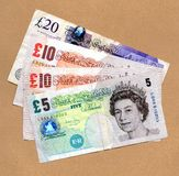 Money fan. £45 pounds fanned out Royalty Free Stock Photo