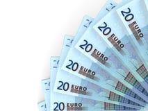Money fan. Twenty euros. Stock Photos