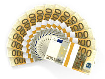 Money fan. Two hundred euros. 3D illustration Stock Photography
