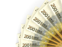 Money fan. Two hundred euros. 3D illustration Stock Image