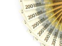 Money fan. Two hundred euros. Stock Image