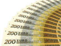 Money fan. Two hundred euros. 3D illustration Royalty Free Stock Photography