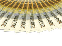 Money fan. Two hundred euros. 3D illustration Royalty Free Stock Photos