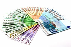 Money fan from various Euro bills 500 200 100 50 20 Stock Image