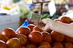Money at the farmers market Royalty Free Stock Images