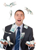 Money fell into the hands of a businessman Stock Image
