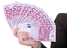Money in female hands. Isolated stock images