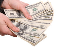 Money in female hands. Isolated Royalty Free Stock Photo
