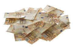 Money. Fifty euro banknotes, money bunch stack Stock Photos