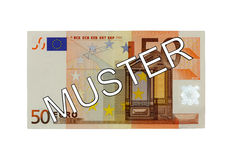 Money - Fifty (50) Euro bill front with German lettering Muster (specimen) Stock Image
