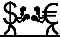 Money fight. Vector / illustration.Fight between a dollar and a euro Stock Photo