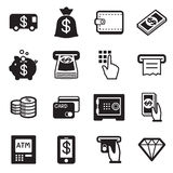 Money, finance, banking credit card icons  set illustratio Stock Photography