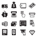 Money, finance, banking credit card icons vector. Graphic design Stock Photos