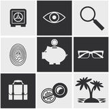 Money, finance, banking icons set. Set of money, finance, banking icons black and white color Royalty Free Stock Images