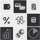 Money, finance, banking icons set. Set of money, finance, banking icons black and white color Royalty Free Stock Image