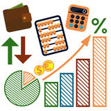 Money, finance, banking icons set. Set of money, finance, banking icons cartoon design style Stock Photography