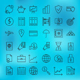 Money Finance Banking and Marketing Line Big Icons Set Stock Photos