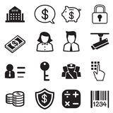 Money, finance, banking silhouette icons vector set Royalty Free Stock Photos