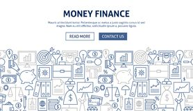 Money Finance Banner Design. Vector Illustration of Line Web Concept Royalty Free Stock Photo