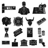 Money and Finance black icons in set collection for design. Business and Success vector symbol stock web illustration. Money and Finance black icons in set Royalty Free Stock Image