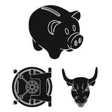 Money and Finance black icons in set collection for design. Business and Success vector symbol stock web illustration. Money and Finance black icons in set Stock Photo