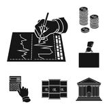 Money and Finance black icons in set collection for design. Business and Success vector symbol stock web illustration. Money and Finance black icons in set Stock Image
