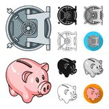 Money and Finance cartoon,black,flat,monochrome,outline icons in set collection for design. Business and Success vector. Symbol stock  illustration Stock Images