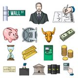 Money and Finance cartoon icons in set collection for design. Business and Success vector symbol stock web illustration. Money and Finance cartoon icons in set Stock Photo