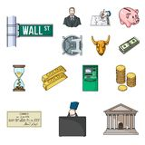 Money and Finance cartoon icons in set collection for design. Business and Success vector symbol stock web illustration. Money and Finance cartoon icons in set Royalty Free Stock Photo
