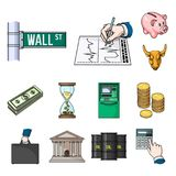 Money and Finance cartoon icons in set collection for design. Business and Success vector symbol stock web illustration. Money and Finance cartoon icons in set Royalty Free Stock Photos