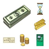 Money and Finance cartoon icons in set collection for design. Business and Success vector symbol stock web illustration. Money and Finance cartoon icons in set Royalty Free Stock Photography