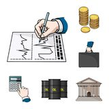 Money and Finance cartoon icons in set collection for design. Business and Success vector symbol stock web illustration. Money and Finance cartoon icons in set Royalty Free Stock Images