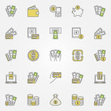 Money and Finance colorful icons. Vector set of financial creative signs. Cash with credit card symbols Stock Image