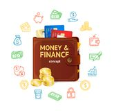 Money Finance Concept. Vector. Money Finance Concept with Realistic 3d Detailed Wallet, Plastic Credit Card, Coin Stack and Outline Icons. Vector illustration Royalty Free Stock Photos