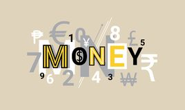Money Finance Creative Word Over Abstract Geometric Shapes Background Web Banner. Vector Illustration Royalty Free Stock Photo