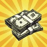 Money Finance dollars. Pop art retro vector. Retro money royalty free illustration