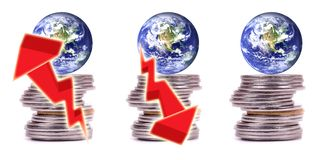 Money, finance and economy of the world. Concept image showing economic growth, recession or depression and also showing that world is run by money power Stock Photo